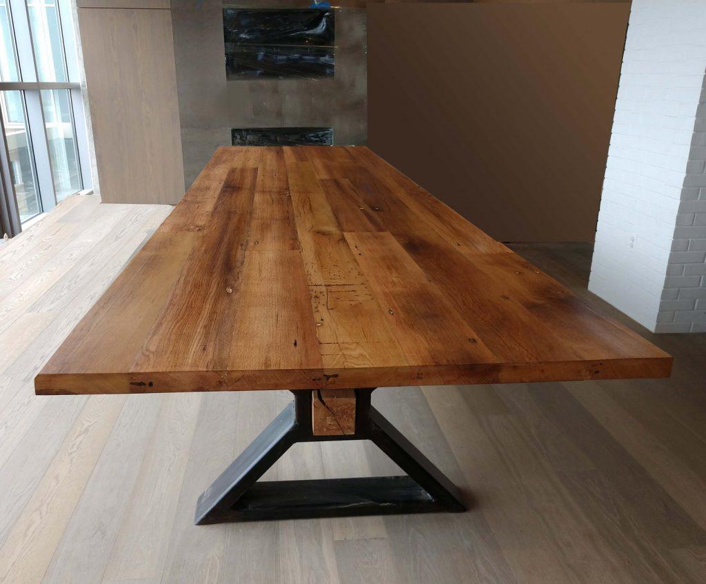 mesa acero madera